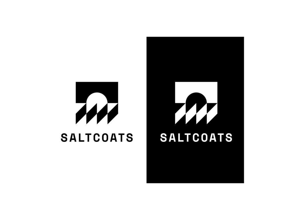 Saltcoats logo, black and white