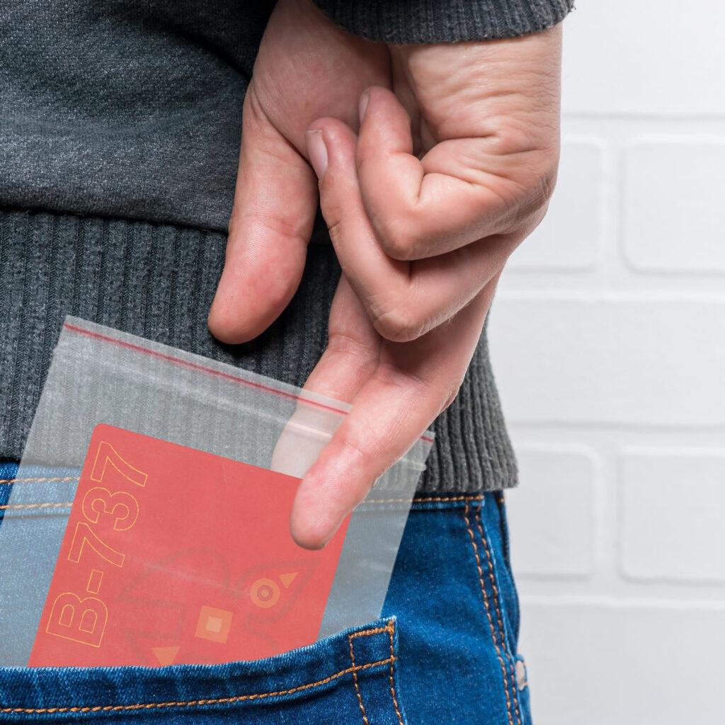 safety card in drug bag in back pocket