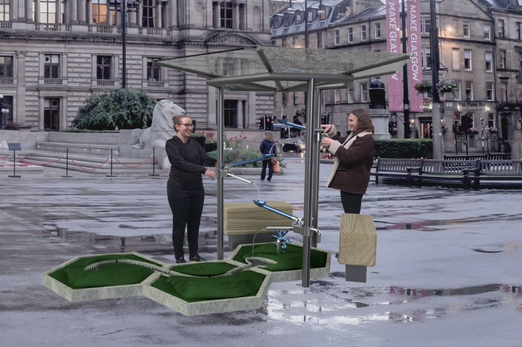 render of rain shelter with interactive arms