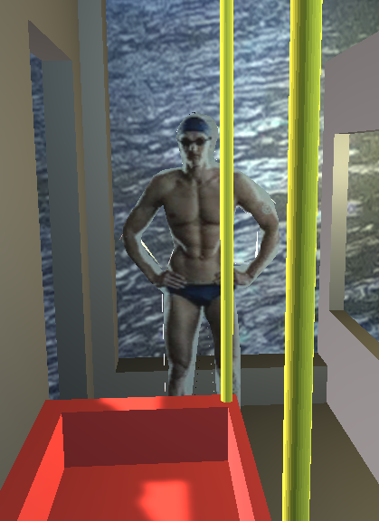 swimmer standing at the front of the bus with yellow poles infront and sea behind