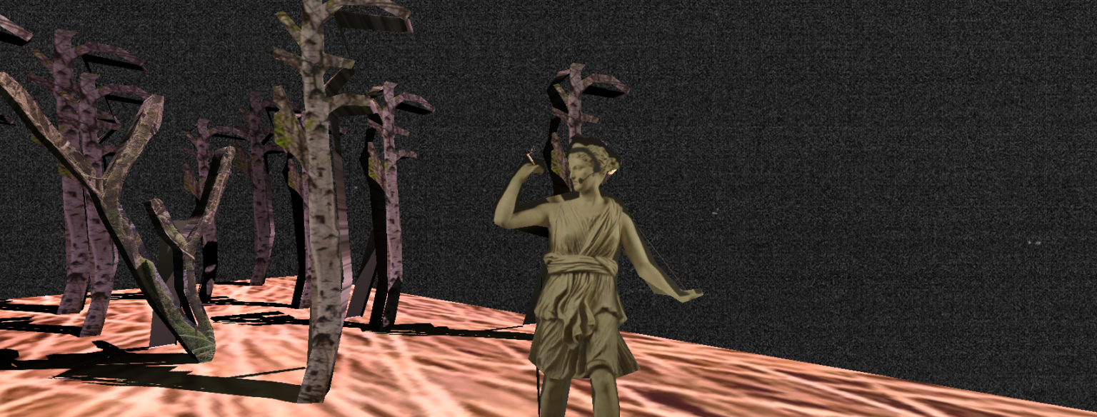 Artemis standing infront of dark backdrop with 2D trees smoking a cigarette