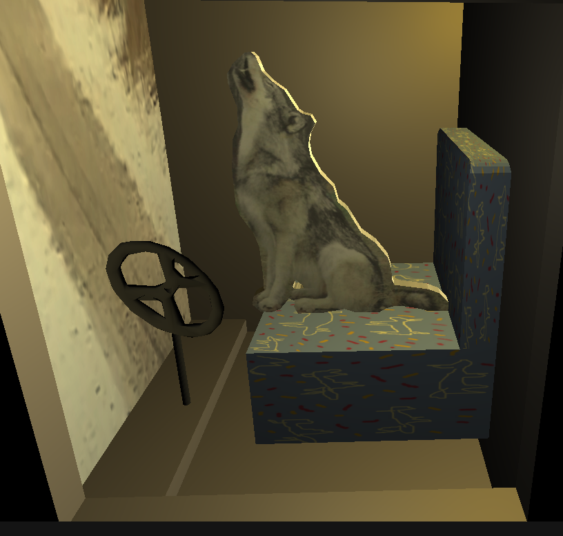wolf sitting on a bus seat driving the bus