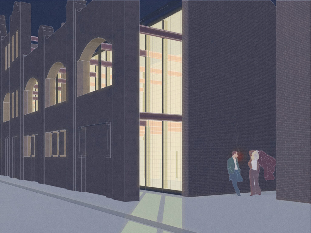 A view from the pavement in front of the Whitevale Baths building at night. The existing façade is pulled away from the existing building and supported by steel structural beams, revealing a new glass façade. There is a yellow glow from within, casting a shadow on the pavement. Two people, man and woman, stand against the building to the right of the image