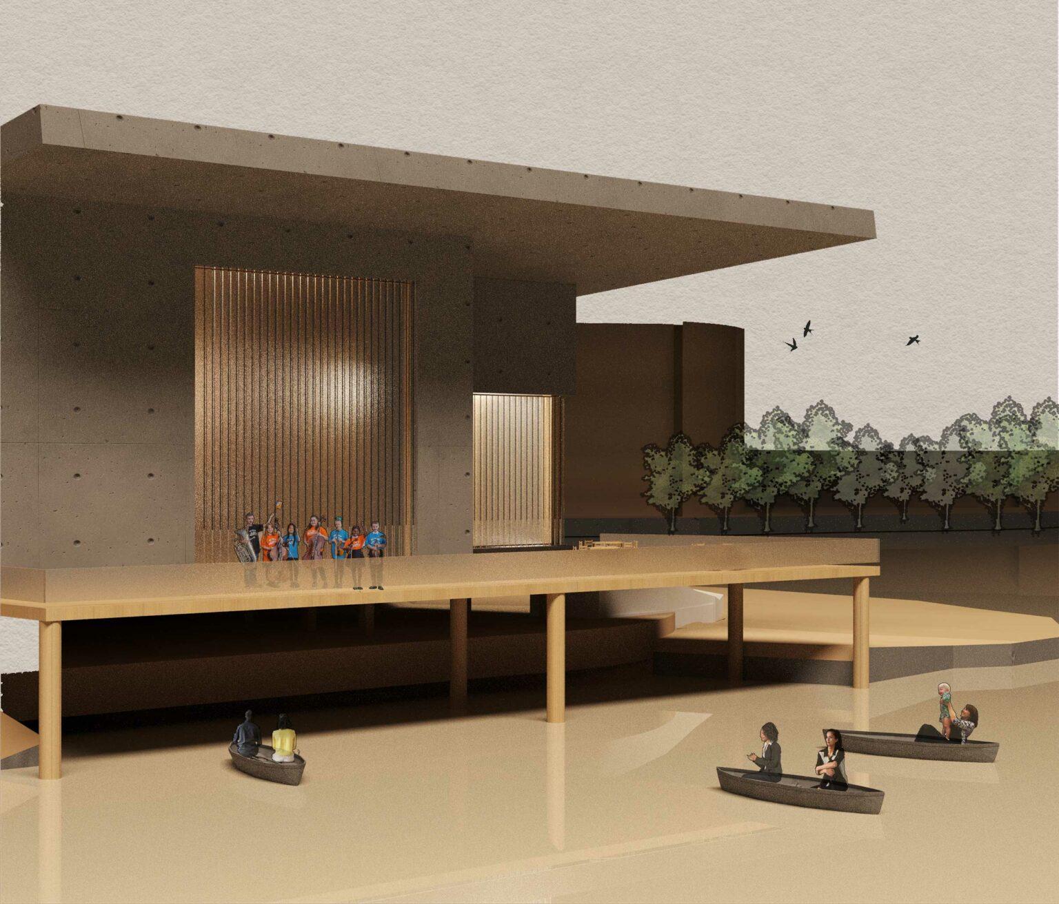 Performance Hall-exterior render