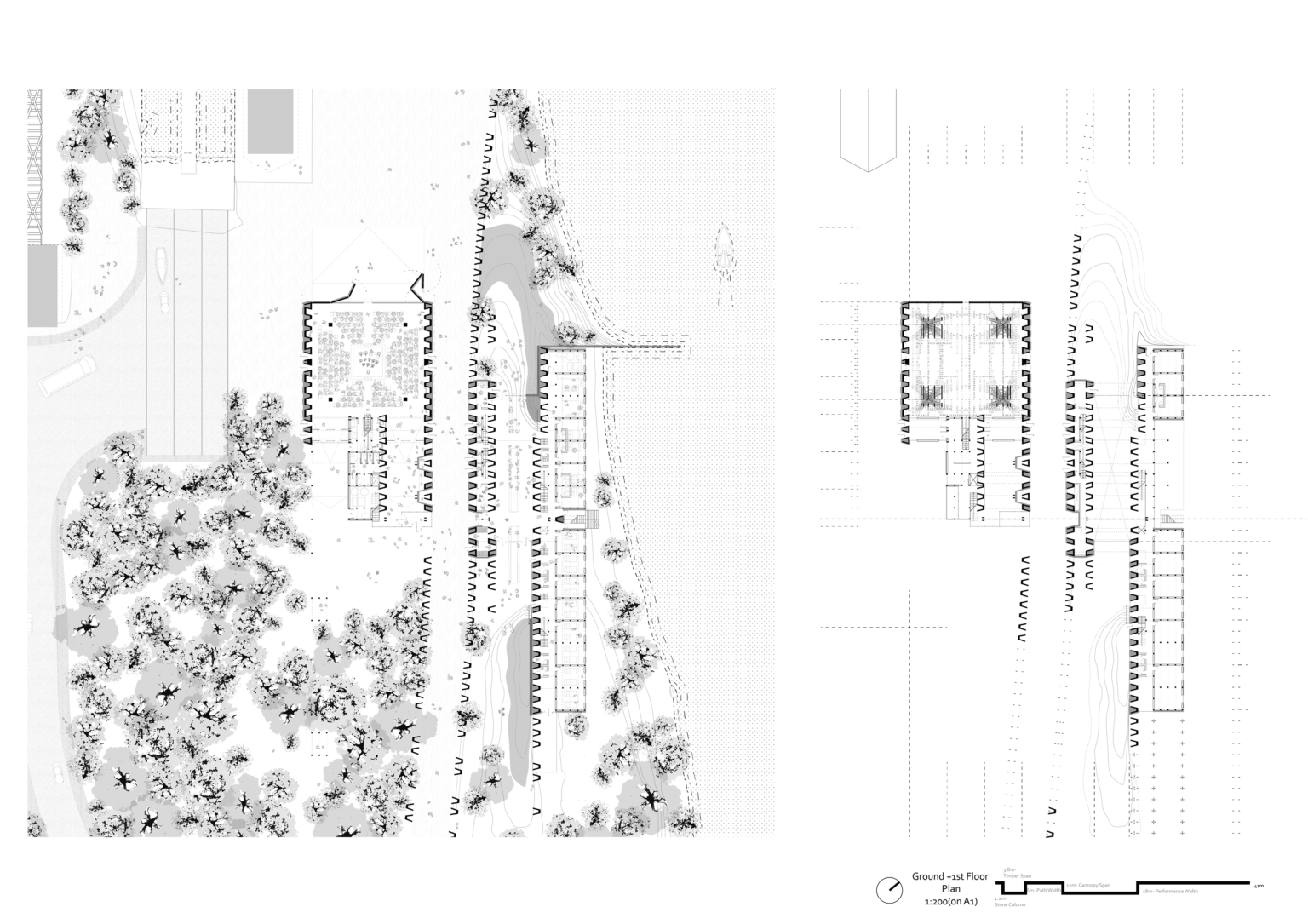 Ground Plan - Context + 1st Floor Plan - Rhythm