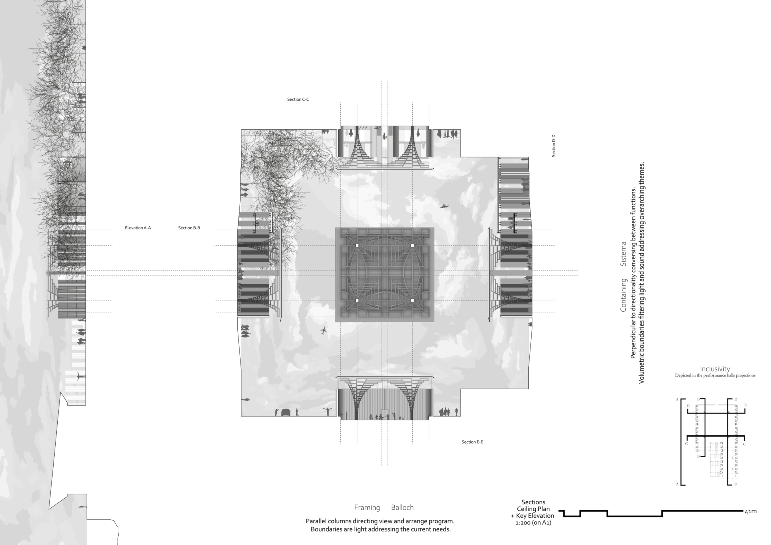 Performance Space - Ceiling Plan + Sections + Key elevation