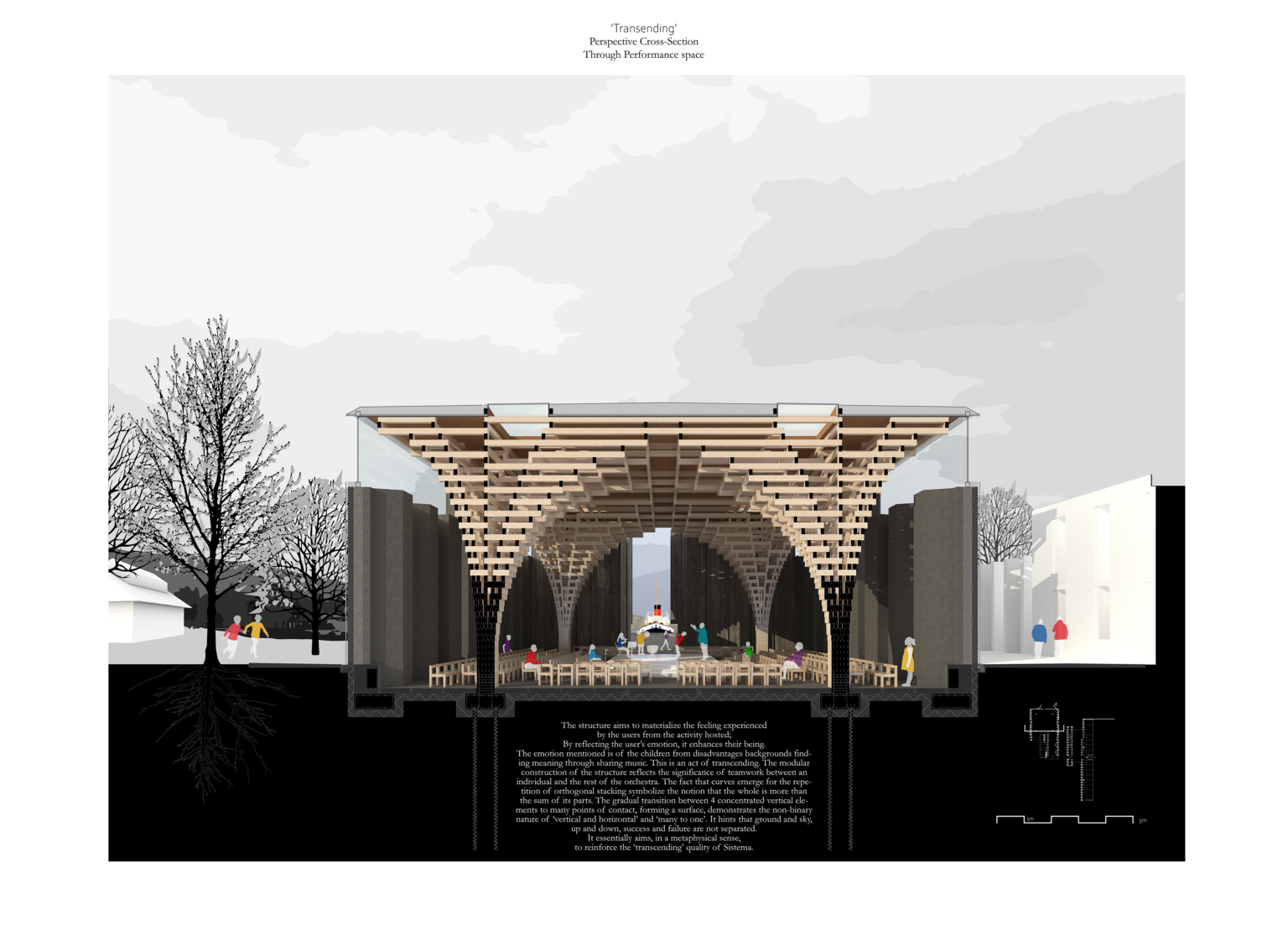 Performance Hall - Perspective Cross-Section