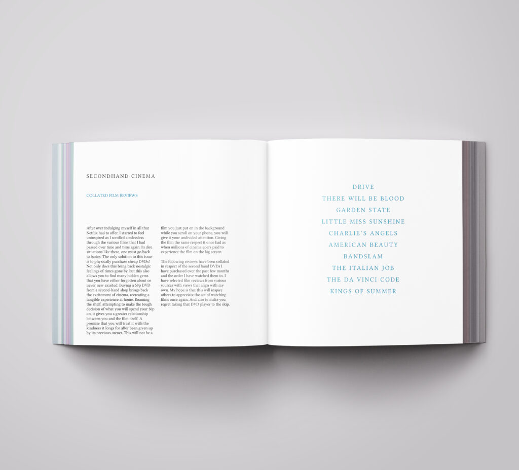 Double page spread mock up with descriptive text on one side and blue titles of the films on the right side