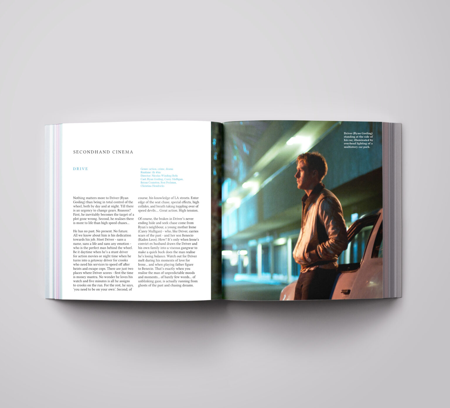 mockup spread, second page of the second hand cinema.