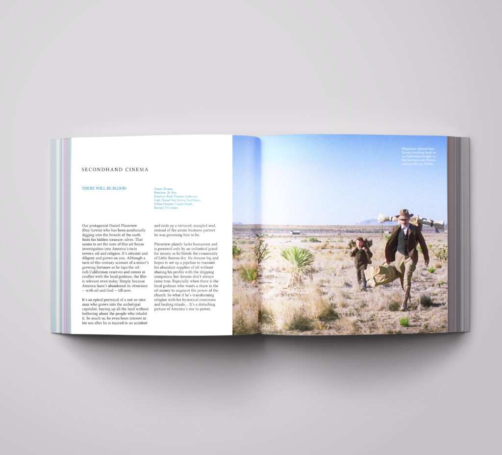 third spread showing the left spread with review on the left side and image of the main two characters in the desert.