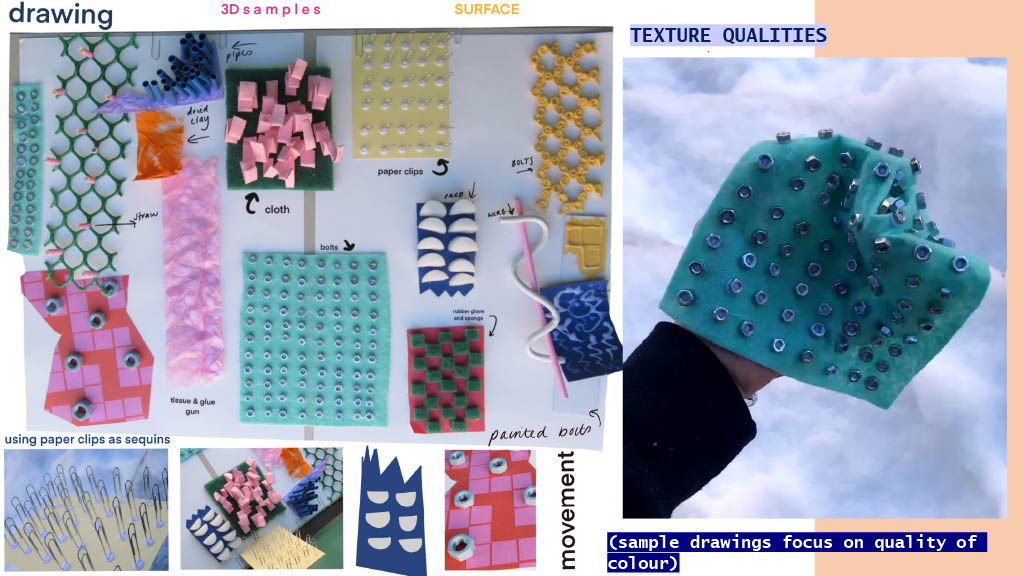 Using waste materials such as bolts, cloth and wire to create off loom samples that focus heavily on surface quality.