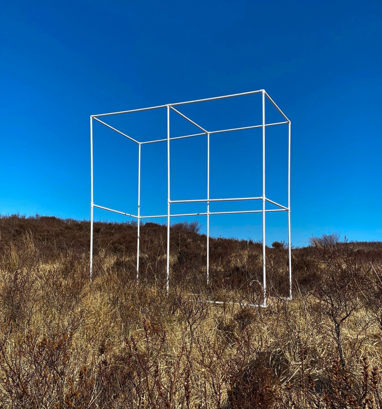 portable bus stop in brown heather with bright blue sky