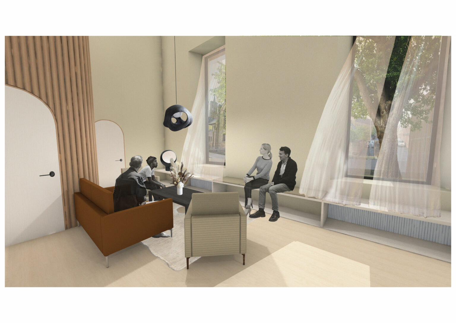 The seating area is where the family can sit with each other as well as a member of staff to discuss the witness cremation. These moments of pause are important as they offer the families spaces to pause and reflect.