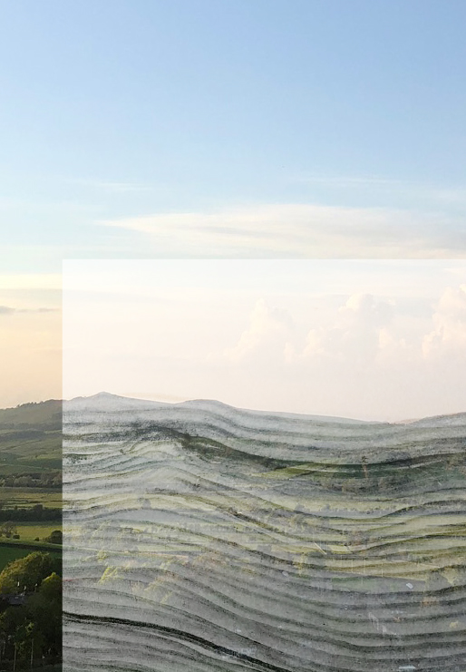 Pencil drawing layered over a photo of Yorkshire landscape at sunset