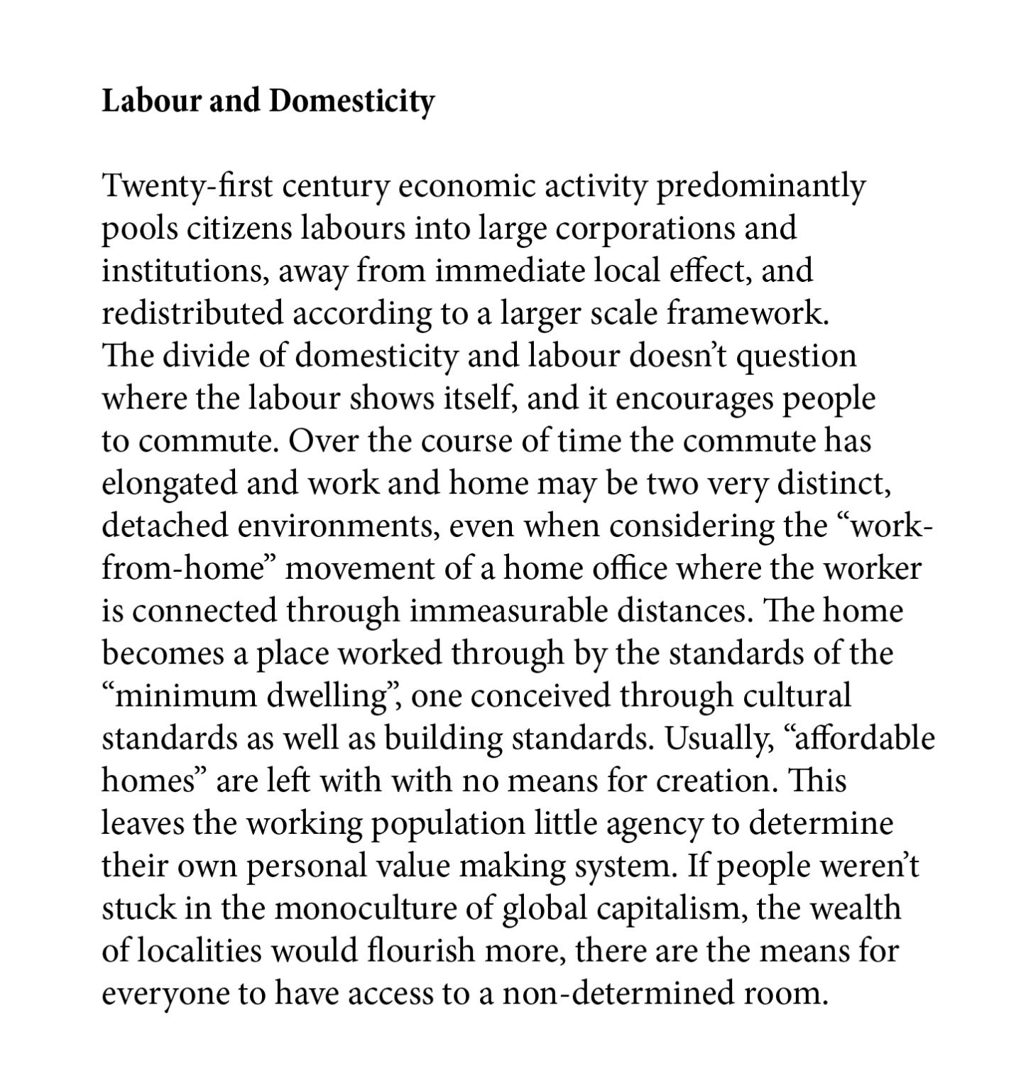 Labour and domesticity