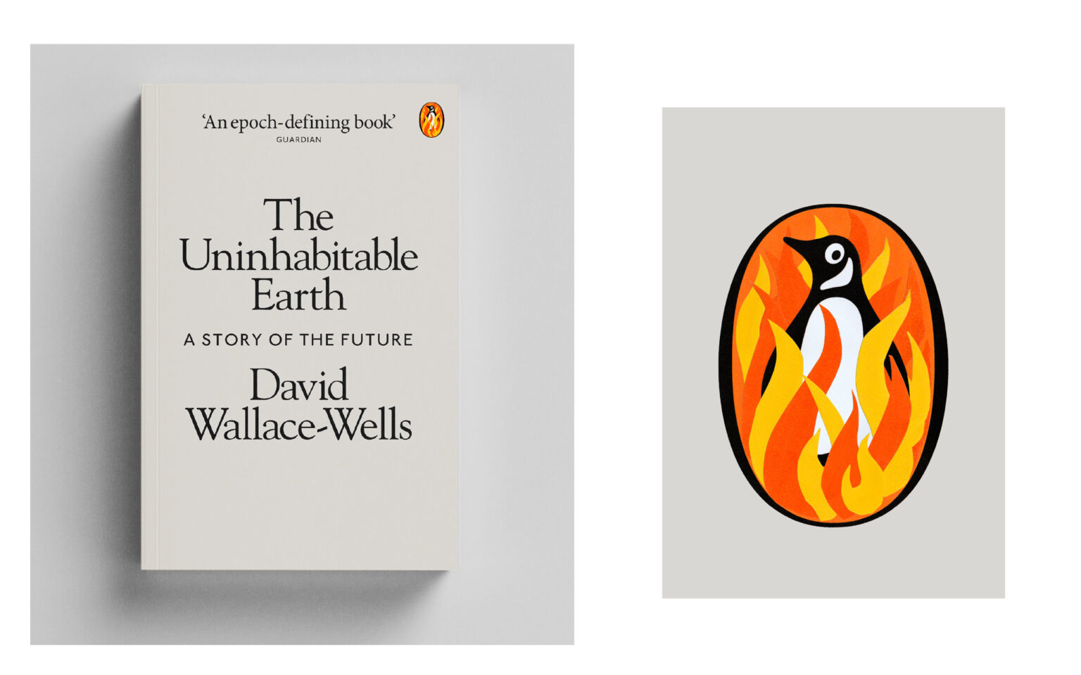 mockup of the inhabitable earth book cover with penguin on fire in logo