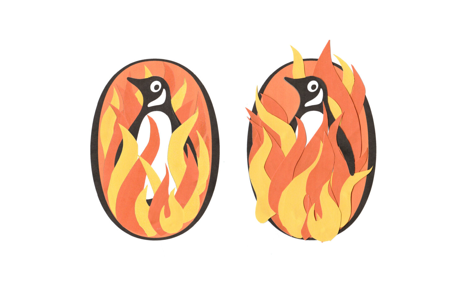 cut out orange flames placed on top of photocopy