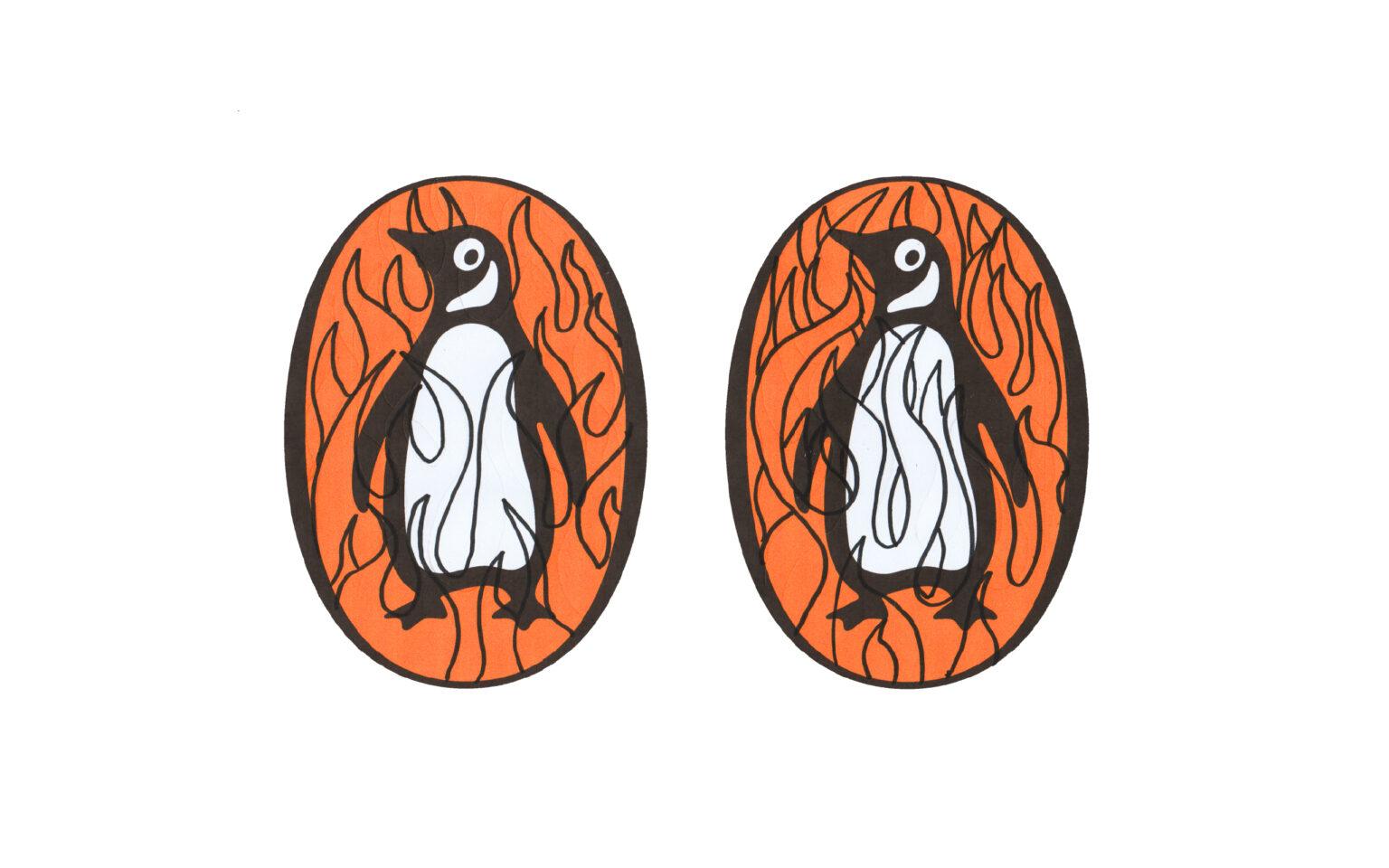pen drawn flames on top of penguin logos