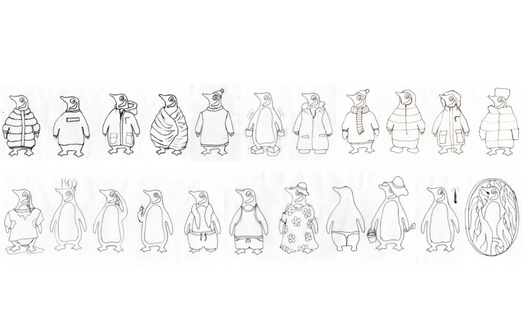 hand drawn scanned in penguin drawings